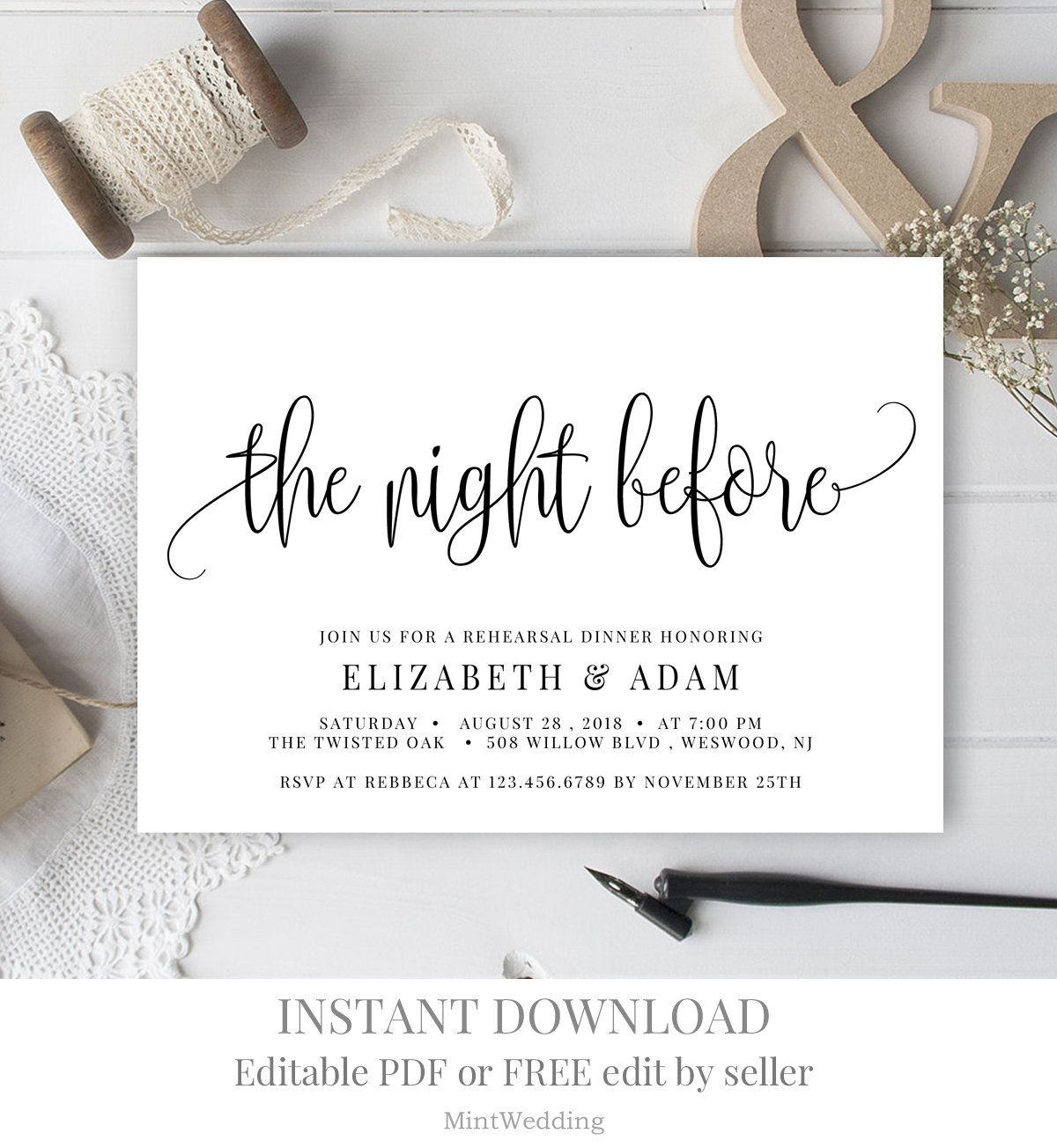 The night before invitation Rehearsal dinner invitation template