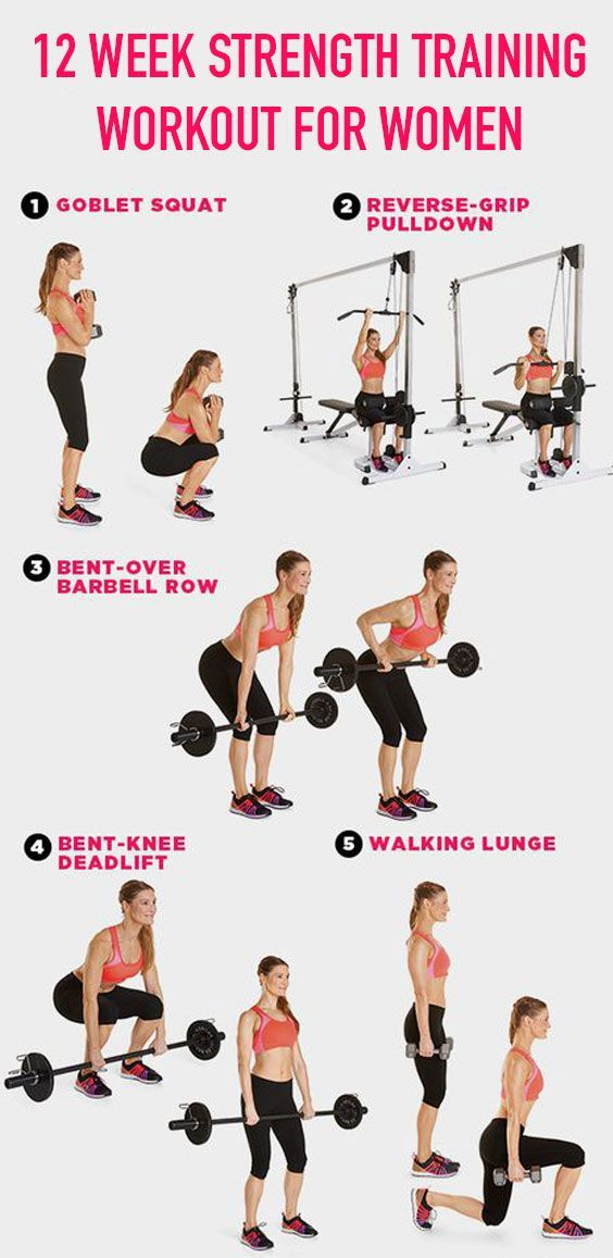 12 Week Strength Training Workout for Women |  For the ladies out there who want a nice gym routine,...