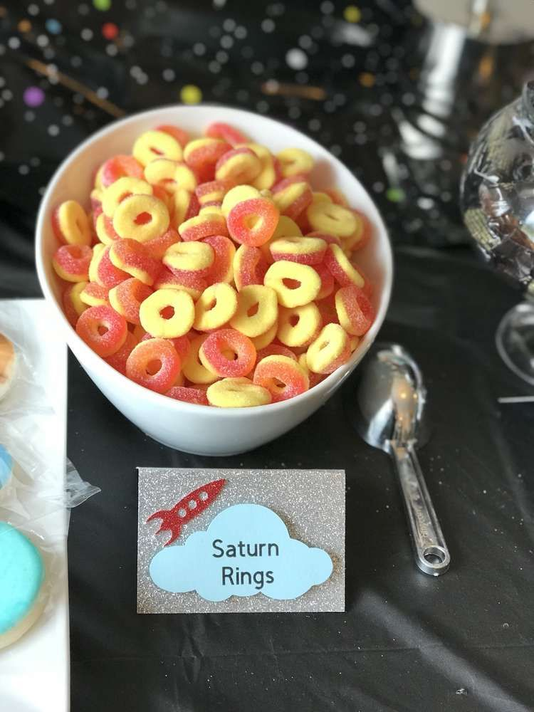 Check out the cool Saturn Ring candy at outer space birthday party! See more party ideas and share yours at CatchMyParty.com #catchmyparty #partyideas #candy #space #spaceparty #outerspace #outerspacecookies #partyfood #outerspaceparty