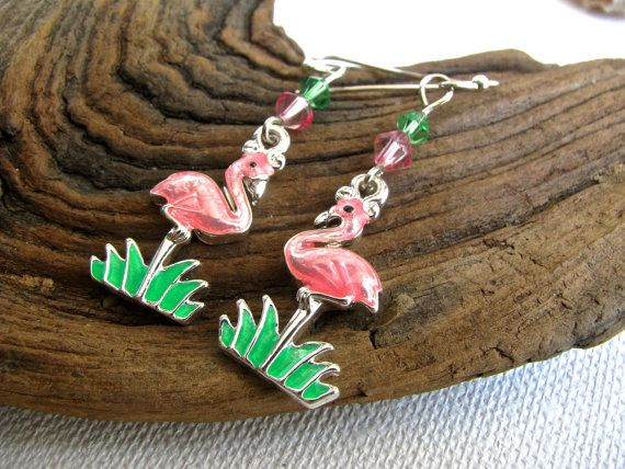 Beach Bling Whimsical Pink Flamingoes with Pink by joyaslindas3