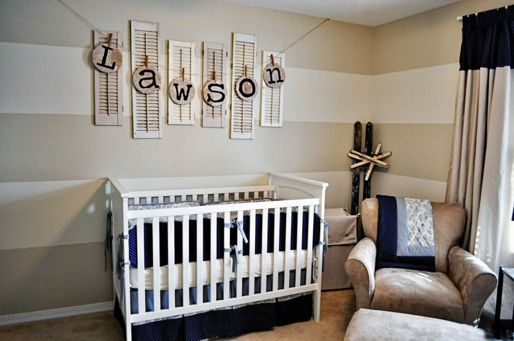 "LOVE this nursery for a boy! Includes a ""how to"" on making the cute letters!"