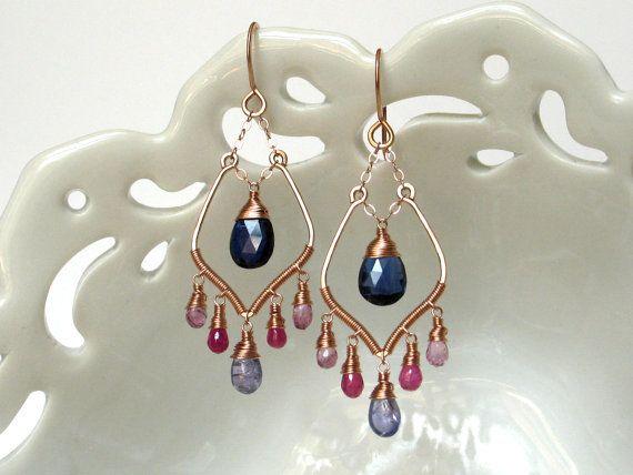 Rose Gold Wire Wrapped Earrings Luxury Gemstone Jewelry Art