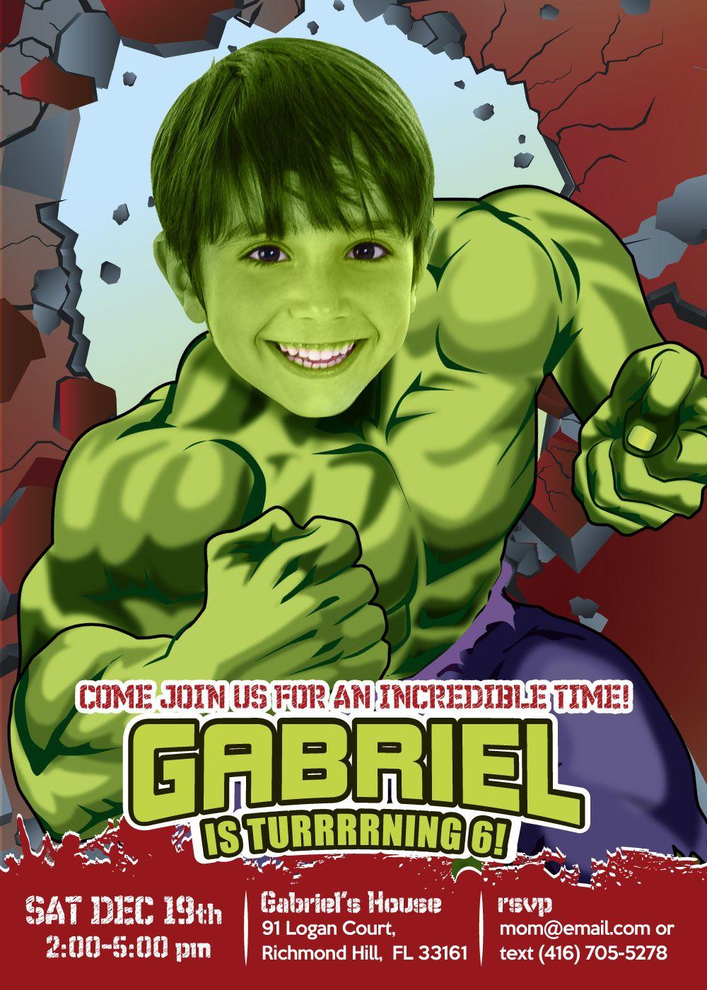 Tarjeta Jero Fiesta De Hulk Increíble Cumpleaños De Hulk