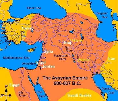 Modern Day World Map.The Assyrian Empire And The Modern Day Countries It Encompassed