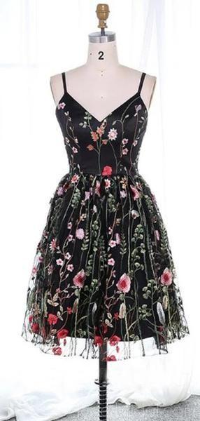 Spaghetti Straps Lace Black Cheap Homecoming Dresses Online, Cheap Short Prom Dresses, CM739