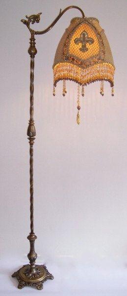 Antique Gothic Fleur De Lis Bridge Floor Lamp French