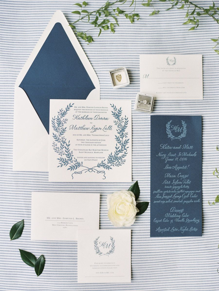 Stripes, Sea, and Nautical Wedding Perfection | Invitation suite ...