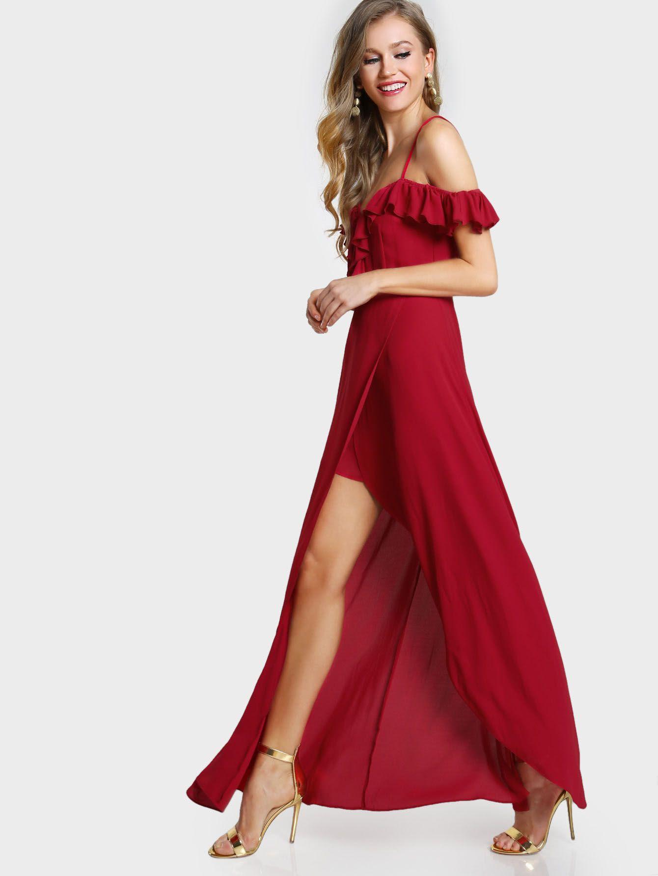 a390f55d18 Frill Cold Shoulder Plunge Sweetheart Wrap Dress -SheIn(Sheinside ...