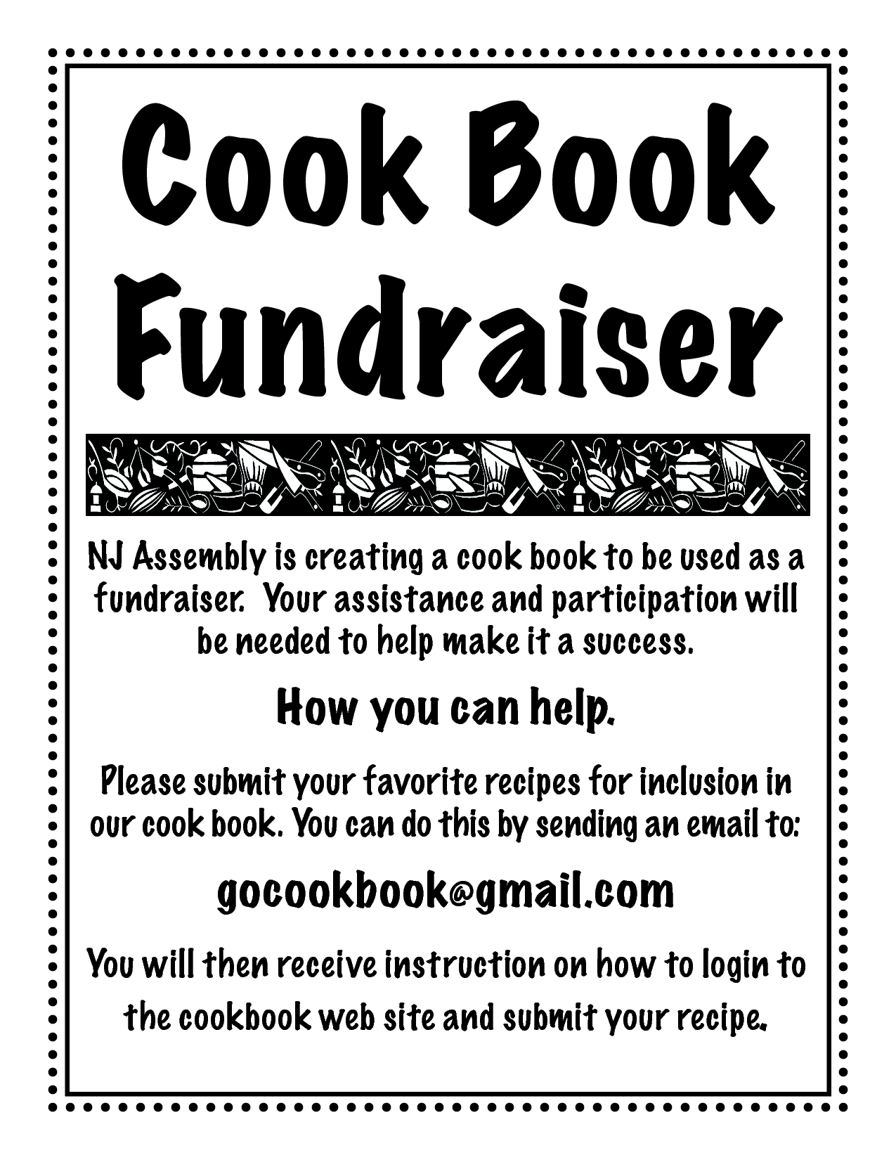 cookbook fundraiser recipe submission flyer | scope of work template ...