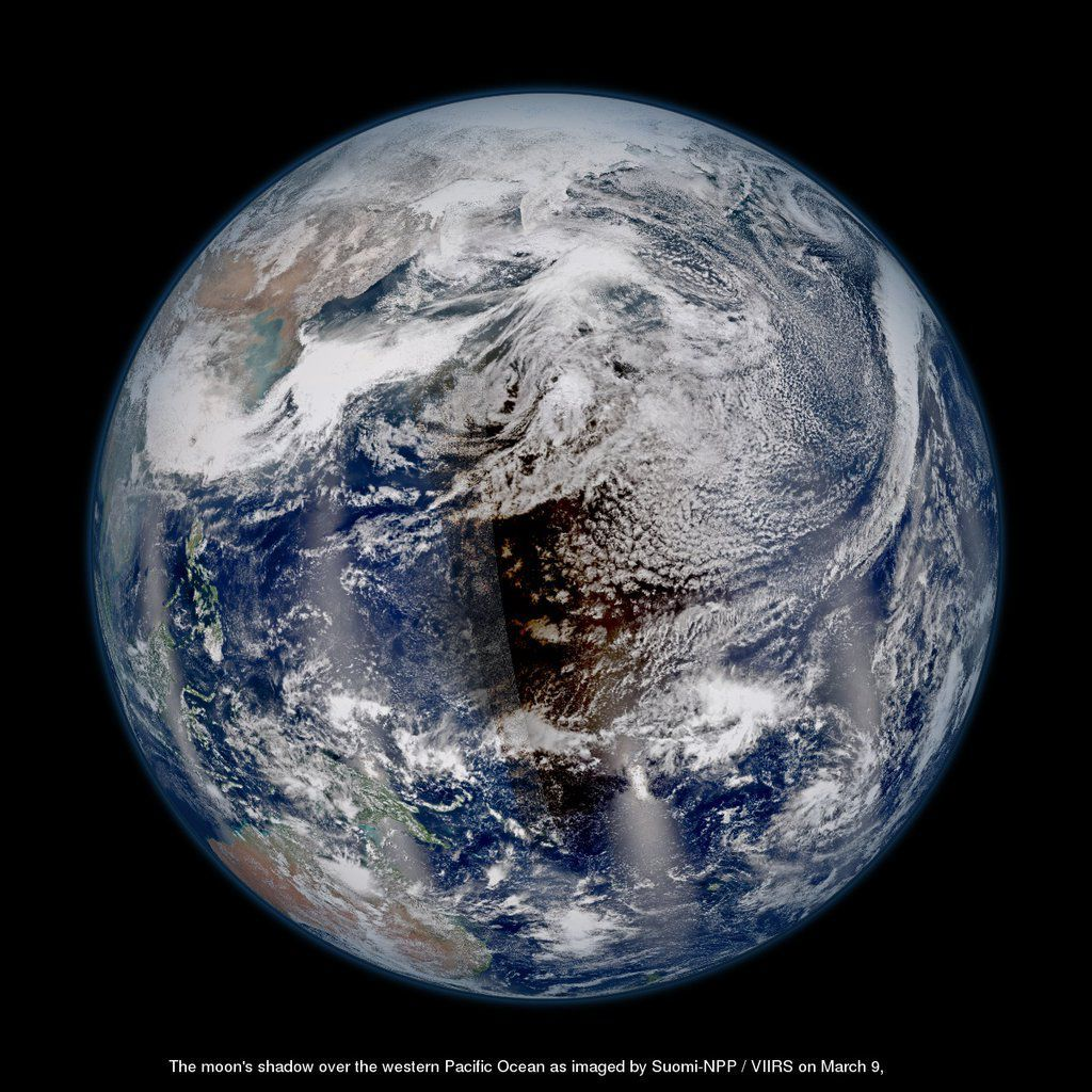Shadow Of The Moon Satellites See Total Solar Eclipse From Space - Earth satellite view 2016