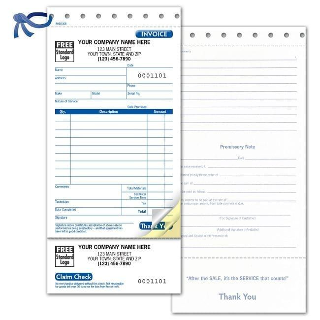 3 Part Service Invoice With Claim Check, Carbonless