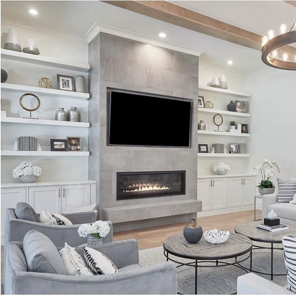 33 Stunning Modern Fireplace Design Ideas With Tv Above In