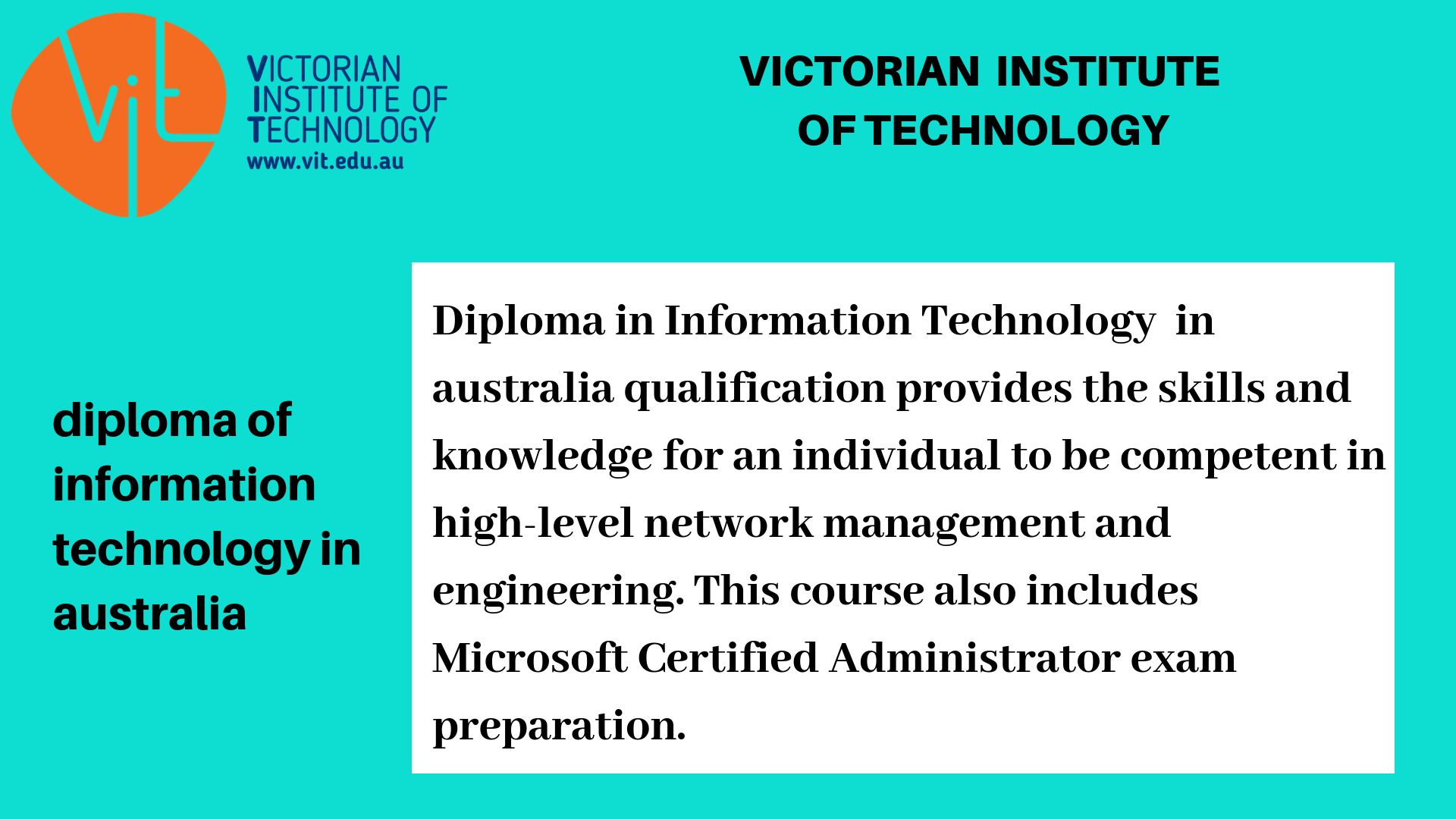 Diploma In Information Technology In Australia Information Technology Technology Exam Preparation