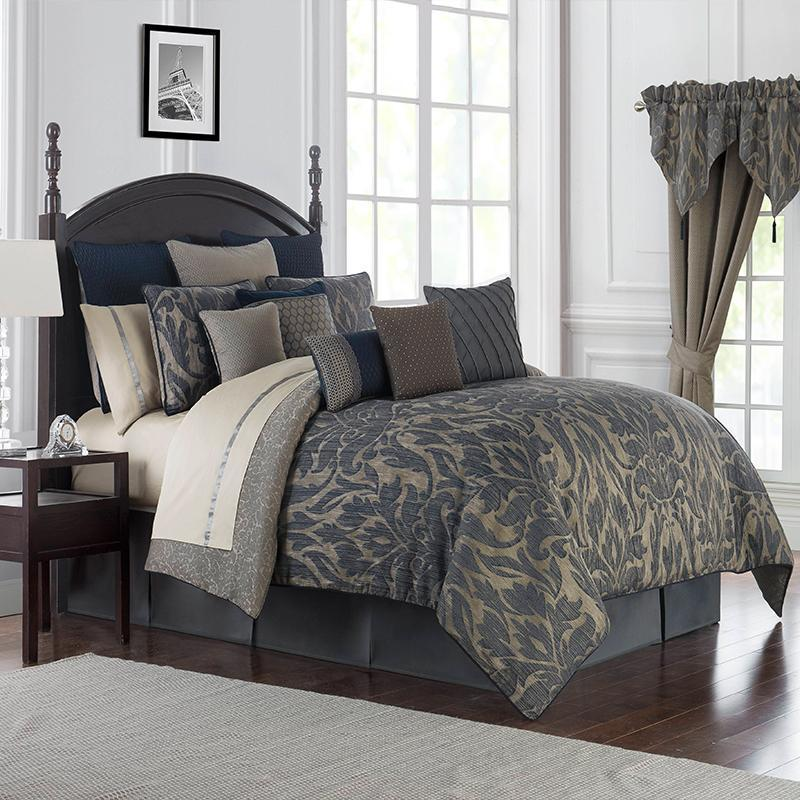 A Stunning Damask Jacquard In Shades Of Indigo And Taupe Reversing To A Textured Scroll Pattern Finished With A Suede Cord T Comforter Sets Bedding Sets Home