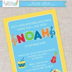 Printable music party invitation idias pinterest music party printable music party invitation toddler birthday partiesthemed filmwisefo