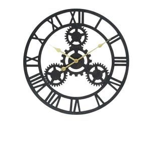 horloge horloge rouage murale en métal Ø 80 cm noir
