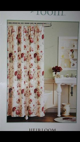 Beautiful Rare Waverly Norfolk Red Roses Floral Shower Curtain