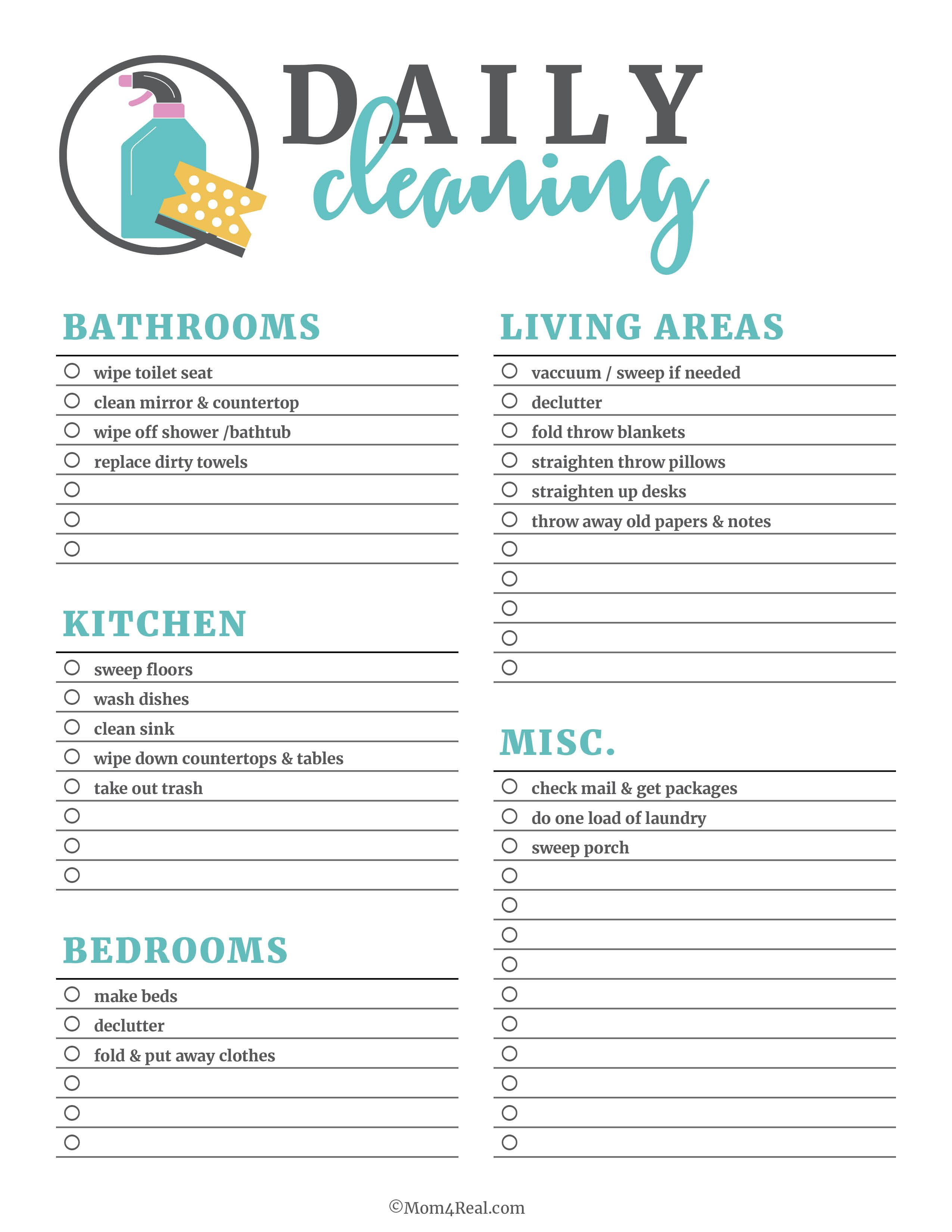 photograph regarding Printable Cleaning Checklist called Printable Cleansing Checklists for Everyday, Weekly and Regular