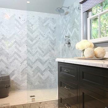 Herringbone Shower Surround, Contemporary, bathroom, Jeff Lewis ...