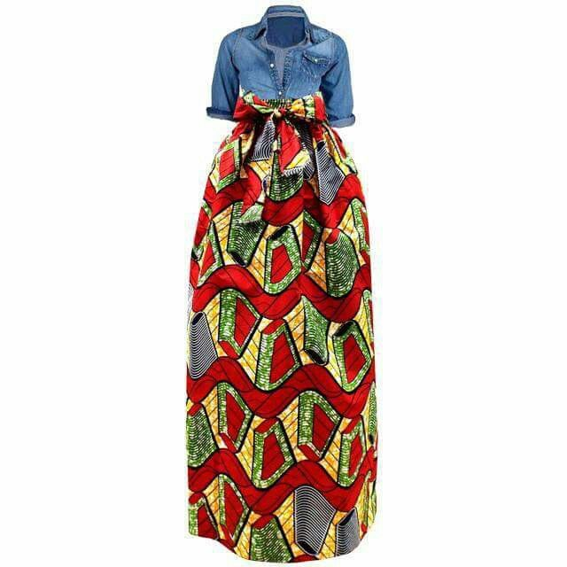 Jean top with African Skirt...