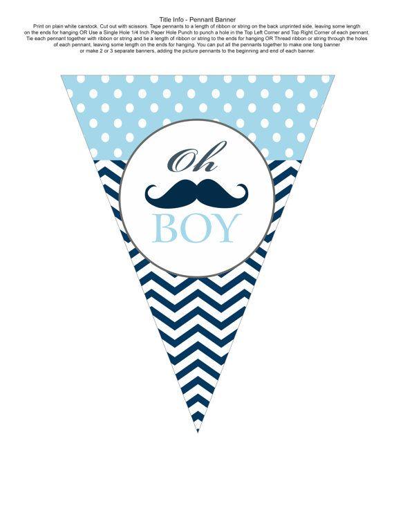Mustache baby shower banner. I like the polka dot/chevron combo.