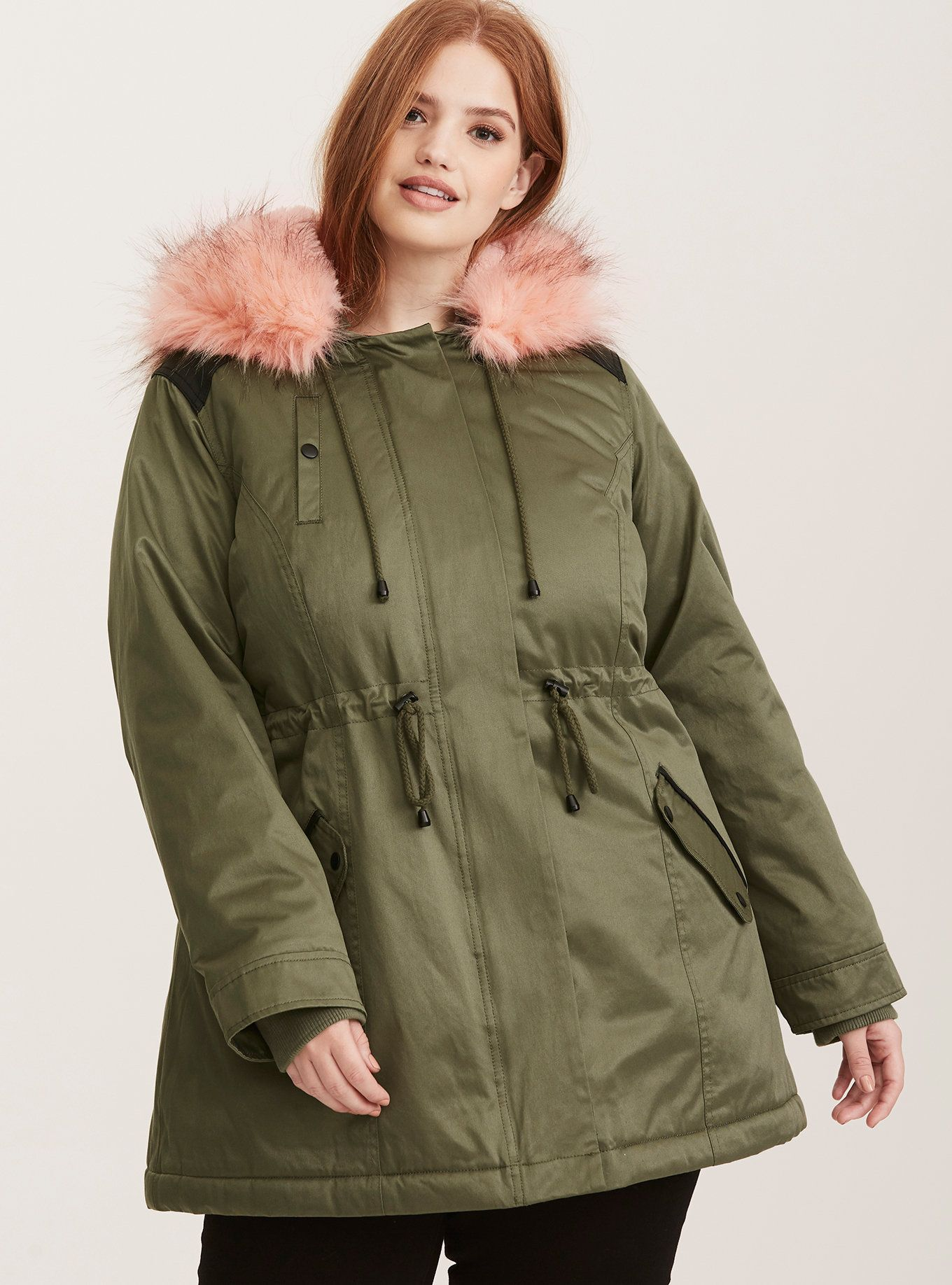 Sherpa Lined Faux Fur Trim Outwear Anorak Jacket Anorak