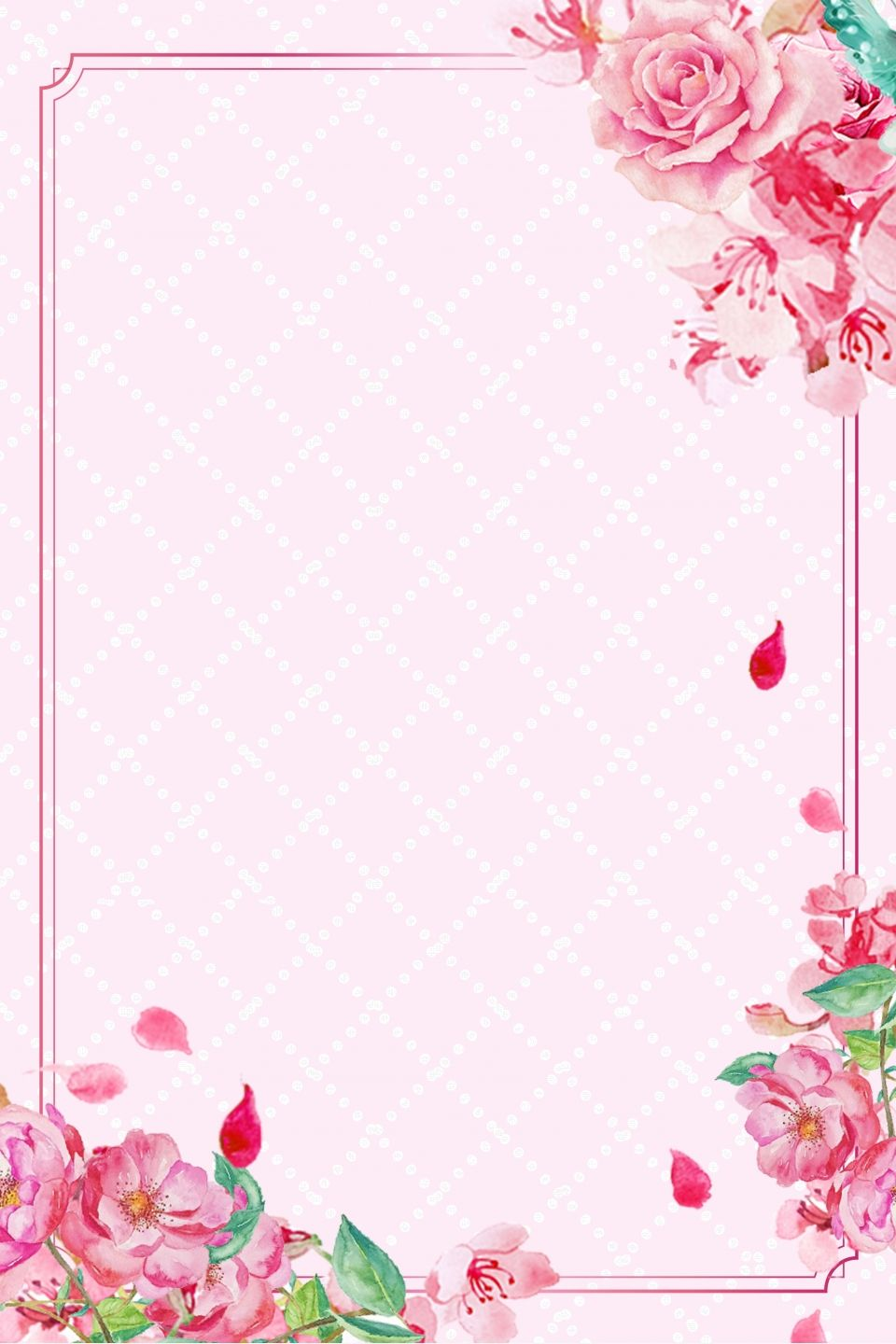 Small Fresh Background Hand Painted Floral Wedding Mat Card Floral Cards Design Flower Background Wallpaper Pink Background Images Flower wallpaper pink background