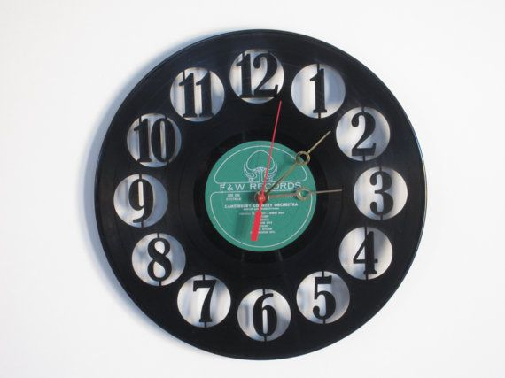 Number Recycled Record Clock by RecordTimeClocks on Etsy, $28.00