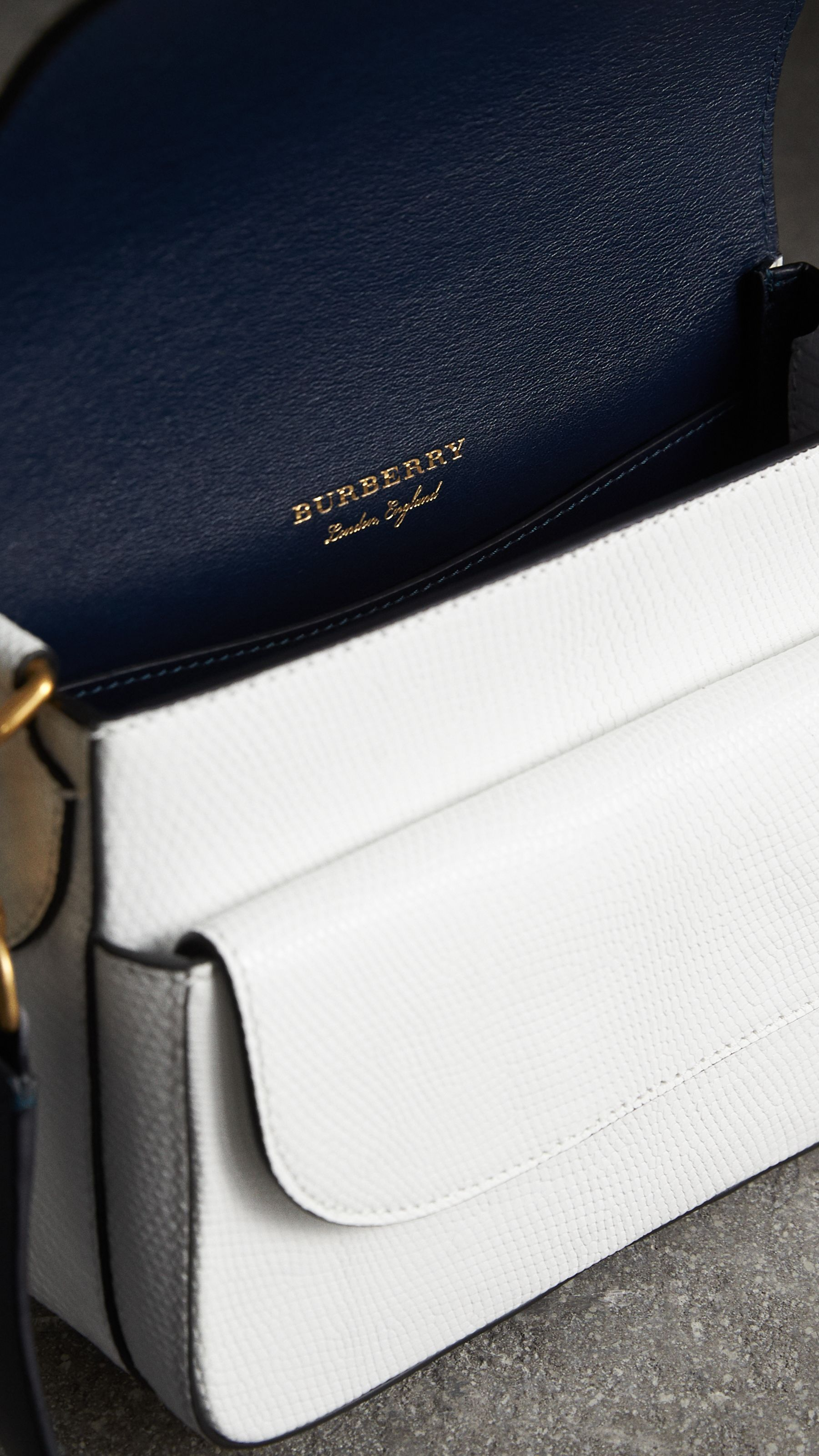 The Square Satchel in Lizard in White - Women | Burberry United States