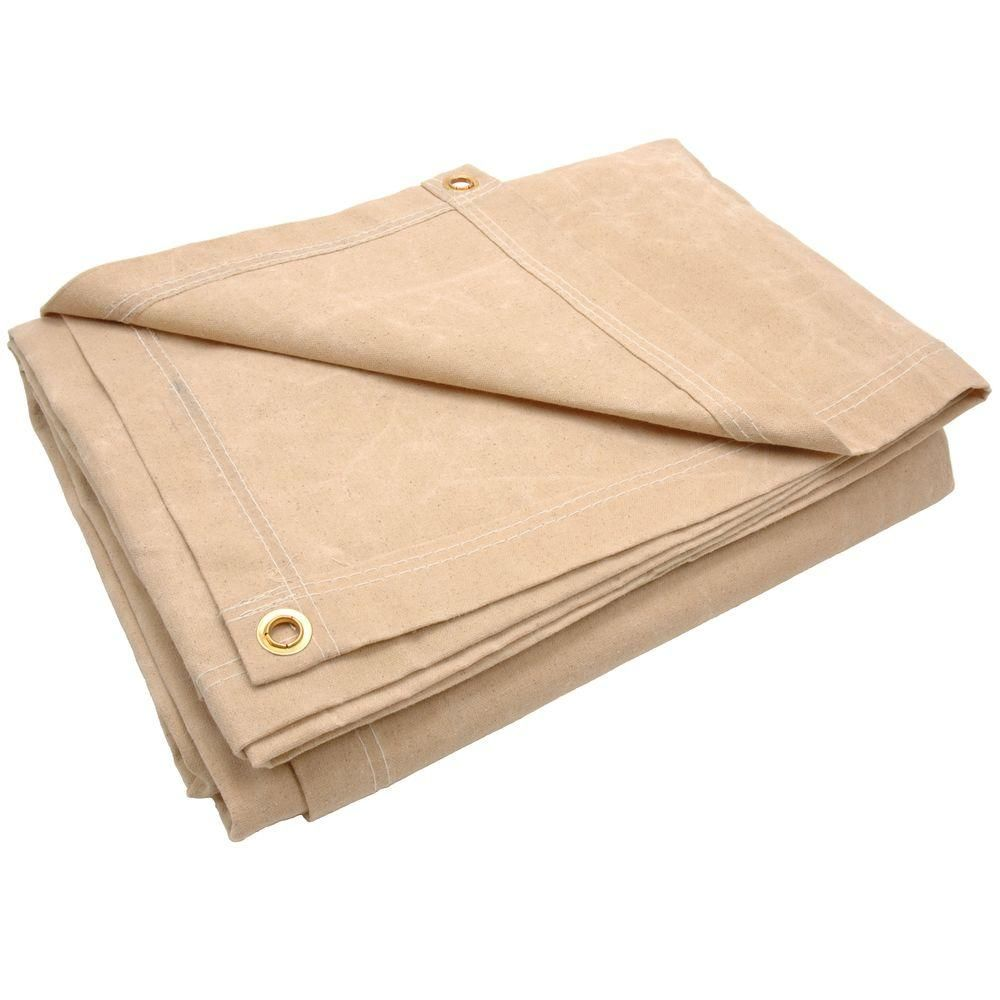 Sigman 11 Ft 8 In X 11 Ft 8 In 10 Oz Beige Canvas Tarp Discontinued Ct10w1212 The Home Depot Canvas Tarps Beige Tarps