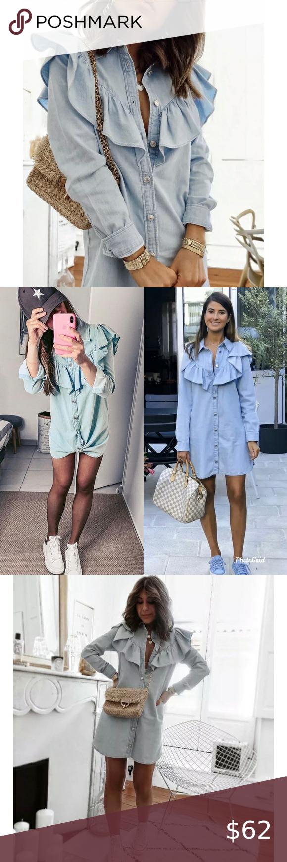 NWT Zara Shirt Collar Denim Mini Dress Blue S Zara Shirt Collar ...