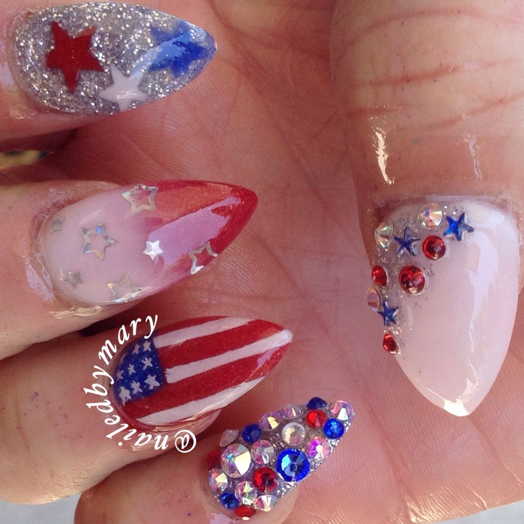 American Flag Red White And Blue 4th Of July Nails American Flag