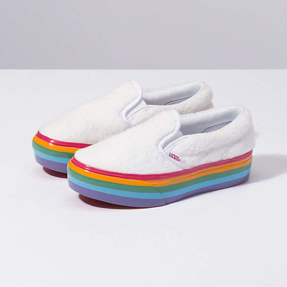 027e161fb Kids Shearling Rainbow Slip-On Platform