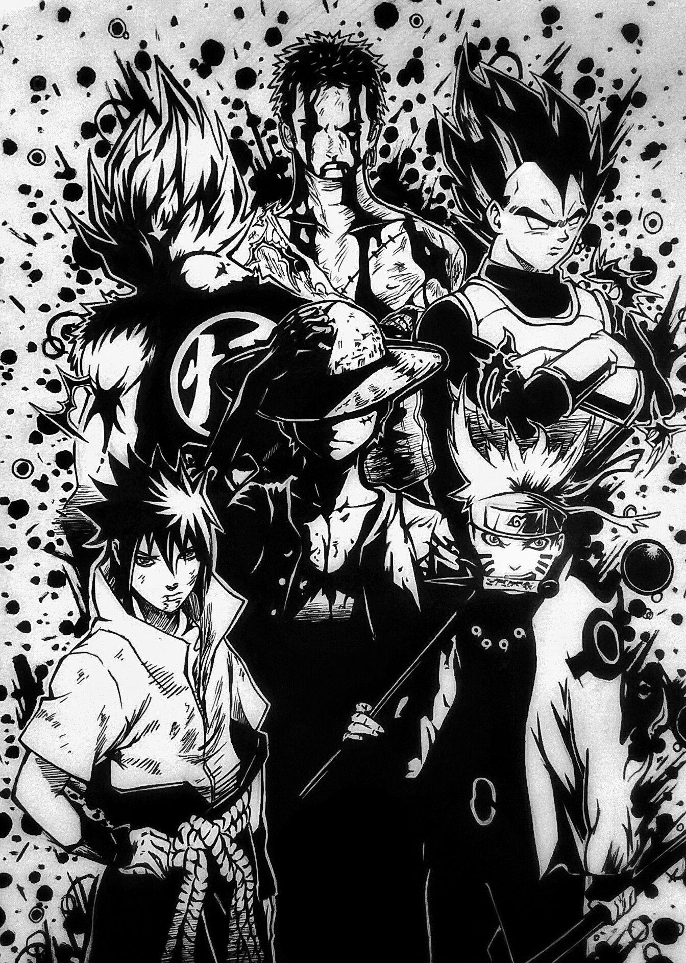 Zoro Goku Vegeta Luffy Naruto Sasuke Cool Anime Wallpapers Anime Crossover Anime Wallpaper