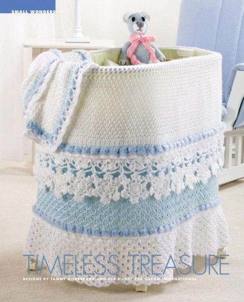 X328 Crochet PATTERN ONLY Bassinet Skirt Baby Blanket Bear Toy Pattern