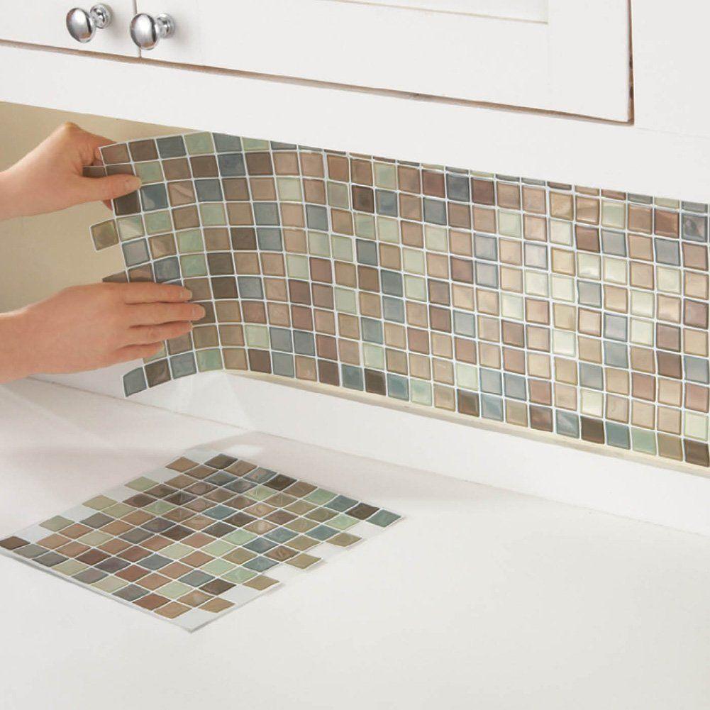 Mosaic Backsplash Tiles Set Of 6 Brown Multi Diy