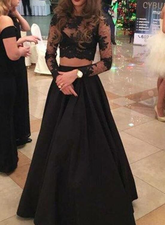 Charming Black Long Sleeves Two Piece Prom Dress Black Formal Dress