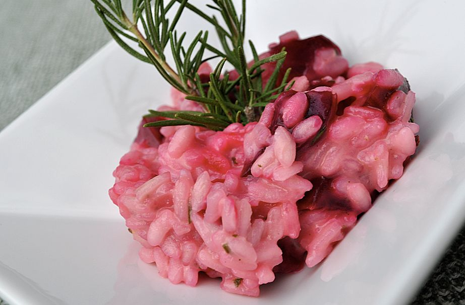 Pretty in Pink: Beet Risotto, roasted beets, goat cheese, and rosemary.