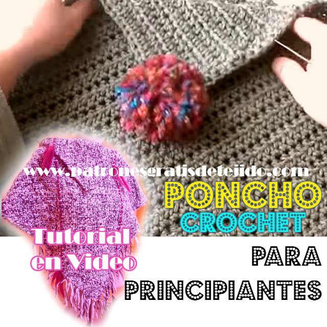 como tejer un poncho con dos cuadros al crochet | Tejido | Pinterest ...