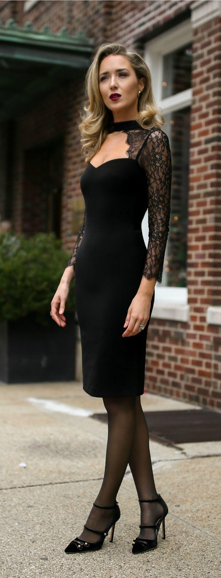 dresses in days date night black lace cutout sheath dress