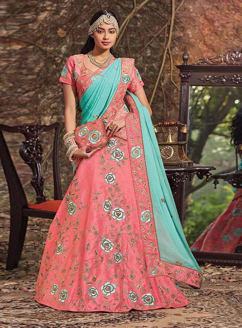 Peach Raw Silk Lehenga Choli With Dupatta 84487 | Indian Attire ...