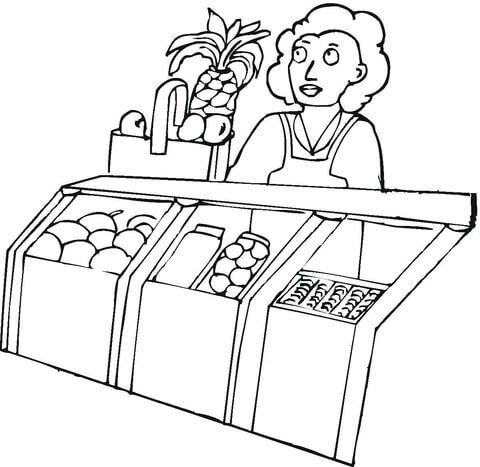 Seller In The Grocery Shop Coloring Page With Images Online