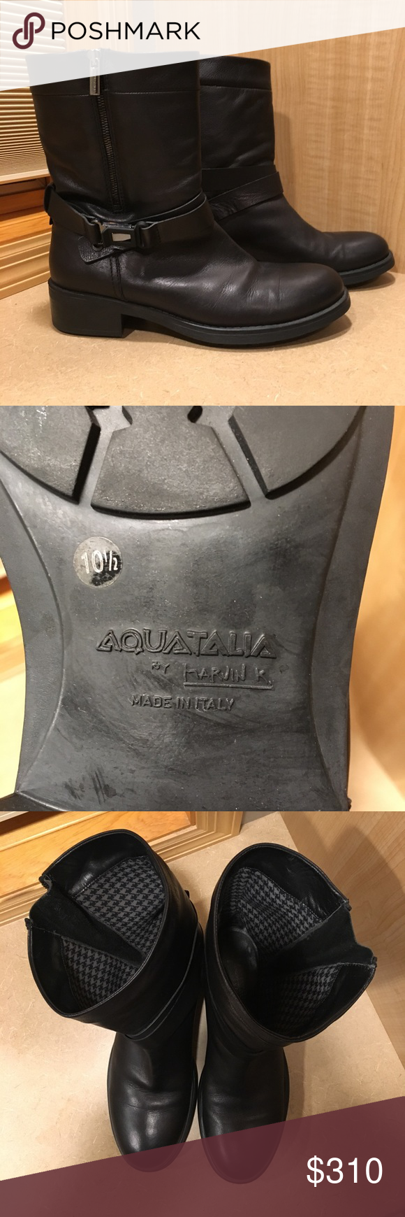 c02b8dceb084 Aquatalia Sami Weatherproof Moto Ankle Boot Aquatalia grained leather  mid-calf boot. Approx.