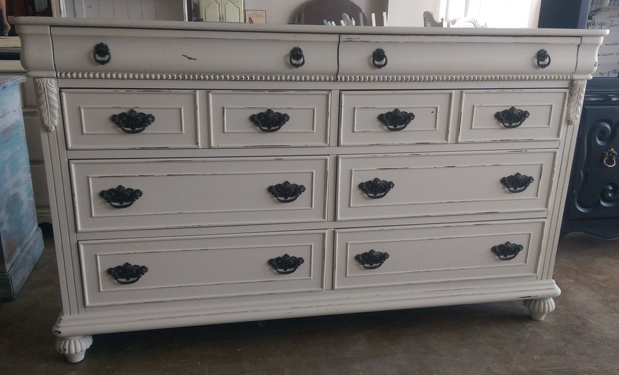 Check Out This Huge Dresser I Painted It A Distressed Off White What Do You Think The Dimensions Are 64 L 18 W 38 H Sold For 425
