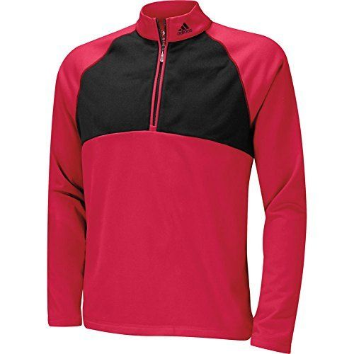 adidas Golf Men's ClimaWarm DownSwing 1/4 Zip Mocks Pullover Red X-Large,