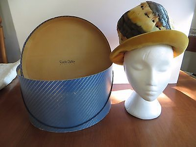 Vtg Speckled Multi Coloured Feather Hat with Yellow Mustard Coloured Velvet Band