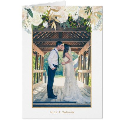 White floral photo wedding thank you note card Wedding, Card