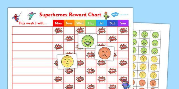 Superheroes Reward Sticker Chart - superheroes, reward, sticker - sticker chart