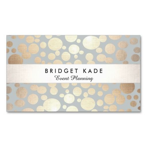 Modern Event Planner Gold  Silver Spotted Pattern Business Card