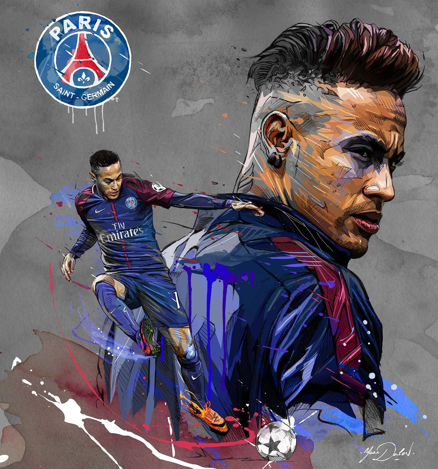 My Painting Of The Famous Neymar Jr And His Arrival In The